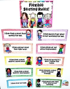 Are you using flexible seating in your classroom this year? This set of rules and choice charts are designed to help provide a visual at all times for your students. Post them on a focus wall and refer to them frequently. Includes a parent letter and cont Classroom Setup, Classroom Design, Classroom Organization, Classroom Management, Modern Classroom, Classroom Environment, Classroom Posters, Kindergarten Rules, Kindergarten Graduation