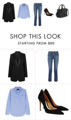 """""""Untitled #2982"""" by memoiree ❤ liked on Polyvore featuring DKNY, AG Adriano Goldschmied, J.Crew, Gianvito Rossi and Burberry"""
