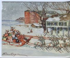 Vintage Christmas Card: Erica von Kager Santa with Sleigh and Angels - 1949