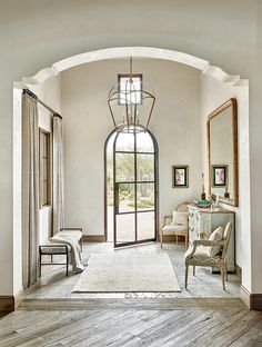 Foyer combines Limestone Floor Tiles and Rustic Hardwood Flooring. Foyer rustic hardwood flooring is DuChâteau's Slat from The Heritage Timber Edition. House Plans, Home, Foyer Decorating, House Design, Foyer Design, New Homes, Interior Design, House Interior, Luxury Homes