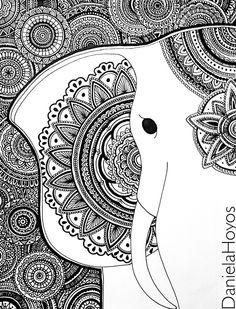 Elephant zentangle art by daniela hoyos Dibujos Zentangle Art, Zentangle Drawings, Doodles Zentangles, Zentangle Patterns, Doodle Drawings, Doodle Art, Mandala Art, Mandala Drawing, Mandala Design