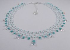 White and Aqua Netted Collar Necklace £32.00