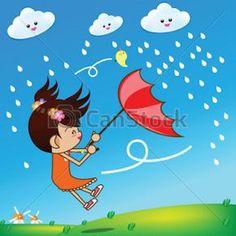 Little girl in rainny day 002 vector image on VectorStock Preschool Music Activities, Learning Activities, Rain Clipart, Rainny Day, Girl In Rain, Music For Kids, I School, Watercolor Art, Little Girls