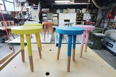 Cute way to finish that pine stool in the garage
