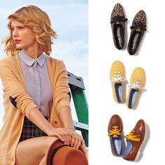 Pale blue button down, camel brown cardigan with elbow patches, high-waisted plaid shorts and some cute girly oxfords