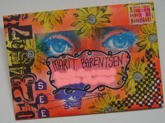 Mail art envelope with stamps and ink