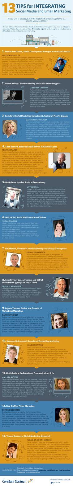 13 tips for integrating Social Media and Email Marketing - #SocialMedia #SocialNetworks #Infographic #Infographics