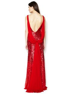 Even your bridesmaids can be in on it! Silk Sequin Draped Chiffon Cowl Back Gown - Reem Acra