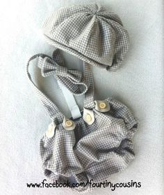 Arthur Newsboy set in Gray Houndstooth Flannel.  Diaper Cover, Suspenders, Bow tie, and Newsboy Hat. Great Photo Prop for all ages.. $90.00, via Etsy.