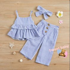 Check out this great stuff I just found at PatPat! Check out this great stuff I just found at PatPat! Solid / … Check out this great stuff I just found at PatPat! Solid / Striped Ruffled Camisole Top and Pants, Headband for Baby / Toddler Girl - Baby Girl Dress Patterns, Baby Dress Design, Toddler Girl Dresses, Little Girl Dresses, Baby Dresses, Baby Top Design, Toddler Sewing Patterns, Girls Dresses Sewing, Girl Toddler