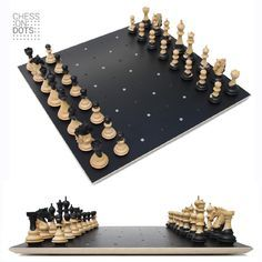 """Chess on Dots an innovative estheatic Dutch Design. Plays as easy as a regular chess board but provides more """"breathing space"""" to the pieces. Automatic centring on the Dots delivers a perfect positioning. By carefully adding colour to the grains of the wood each chess piece creates its own peace of art."""