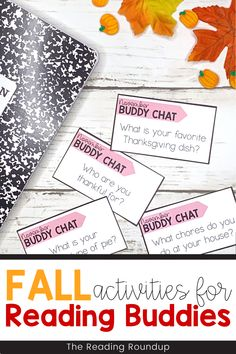 Is your Daily 5 Buddy Reading Center as effective as you'd like for it to be? These fall and Thanksgiving themed digital and printable reading buddies bookmarks are guaranteed to lead to more student engagement. Elementary students can with these bookmarks and graphic organizers for character analysis while reading. Reading response sheets are also available for additional accountability during literacy centers. A must-have for your reading workshop! Fun Fall Activities, Reading Activities, Hands On Activities, Literacy Activities, Literacy Centers, Partner Reading, Reading Response, Student Reading, Reading Centers