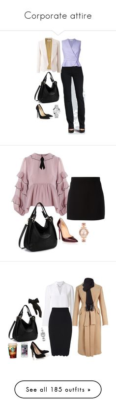 """""""Corporate attire"""" by jellymae ❤ liked on Polyvore featuring 7 For All Mankind, Graham & Brown, Carven, Chloé, Jimmy Choo, Versace, tops, rosegal, shirts and tanks"""