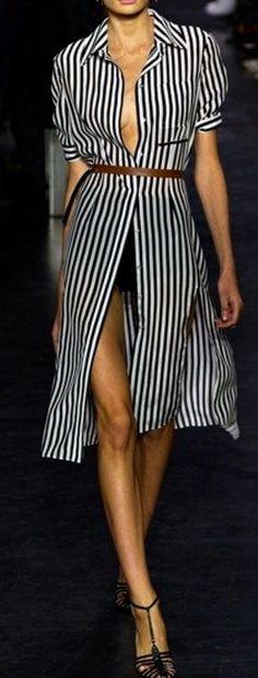 Crisp Stripes in a Shirt-Waist Dress