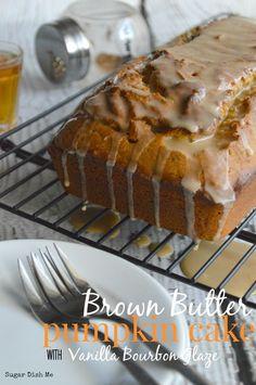 Brown Butter Pumpkin Cake with Vanilla Bourbon Glaze - Sugar Dish Me