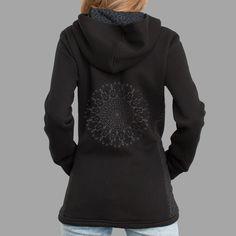 Shrooms Hora Women Jacket #entheogen #iconic #mandala #psychedelic #backprint #hoodie #monochrome #symbolika