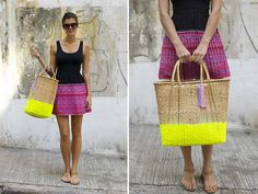 diy neon dipped market tote {via A Pair & a Spare}
