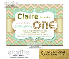 Blush Pink Mint and Gold Chevron First Birthday Invitation featuring simulated Gold Glitter and Gold Foil - ANY Birthday age CHOICE OF DIGITAL FILE (you print option) OR PRINTED PACKAGE, $20