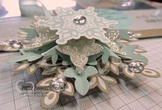 www.PattyStamps.com - DIY Snowflake ornament kit - no cutting required!! Just fold and use your hot glue gun to assemble!!