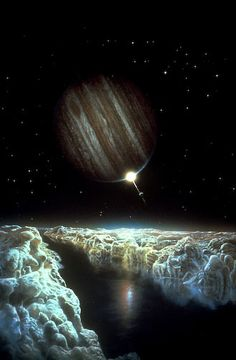 Ice Lead On Europa - a rare fracture in the icy crust of Europa briefly reveals the ocean below; by Don Dixon