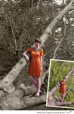 how to create black and white photos with areas of color  at The Clothes Horse blog
