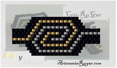 Cristina Rugar: Esquemas Peyote Stitch Patterns, Bead Loom Patterns, Beaded Jewelry Patterns, Beading Patterns, Seed Bead Projects, Beaded Rings, Brick Stitch, Loom Beading, Molde