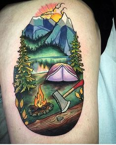 #mulpix I'm ready for fall, camping and camp fires, how about you? Tattoo by artist: @vongray ・・・ Got to do this little camping scene on the wonderful Holly today! Thanks lady always a pleasure hanging out! ➖➖➖➖➖➖➖➖➖➖➖➖➖➖➖ #electricgrizzlytattoo #canmore #banff #mountainlife #camping #backcountry #mountains #tattoo #fire #fall #outdoors #life #explore #gocamping #everink #fusionink #truegrips #neotat #vivace #neotatmachines