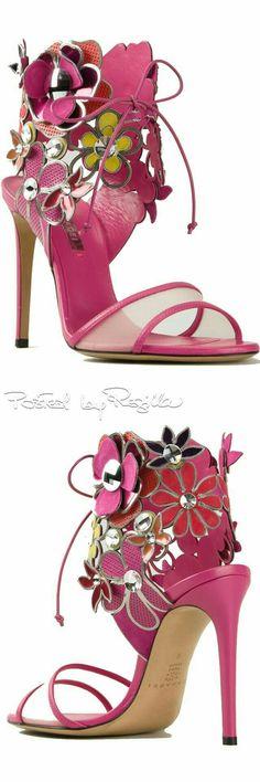 Fuchsia haute couture sandals with flowers   Lauren B Montana