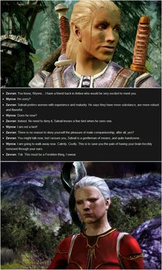 Zevran and Wynne have some of the best conversations in the game - especially regarding bosoms. ;-)