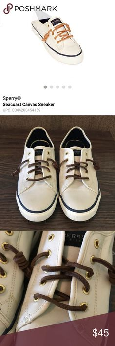 Sperry Seacoast sneakers Only wore a handful of times. Bought while I was pregnant and my feet grew to much for them to fit comfortably. Never even got broke in good. There's a slight stain underneath some of the laces but it's barely noticeable in pix. Sperry Shoes Sneakers