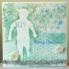 Gelli Print Christmas Card - Layers of ink