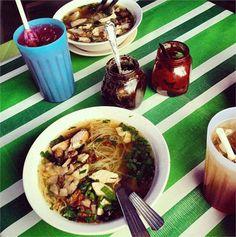 Malaysian food, stripey tablecloth, blue beaker