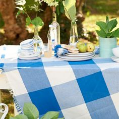 Designers Guild Placemats, napkins, and wonderful woven cotton GINGHAM tablecloths. LOVE!