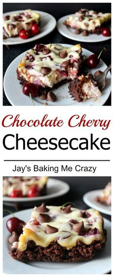Chocolate Cherry Cheesecake- the perfect combination of fresh cherries and sweet chocolate. With a Brownie Brittle crust.