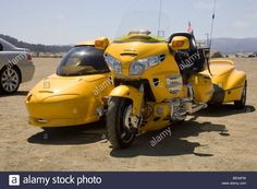 Custom Honda Motorcycle with Sidecar and Trailer Stock Photo Goldwing Trike, Vw Trike, Scooter Bike, Trike Motorcycle, Cool Motorcycles, Cool Bikes, Motorbikes, Automobile, Stock Photos