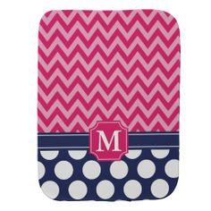 Hot Pink & Navy Chevron Zigzag Polka Dots Monogram Burp Cloths