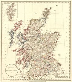 Map Antique. Scotland Drawn from the Best Authorities by J. Russell. Engraved for Guthries new System of Geography.  C. Dilly/G.G. & J. Robinson. 1799. London.