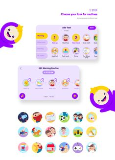 Timo:Kids Routine Timer on Behance App Ui Design, Web Design, Kids Graphic Design, Android Icons, Educational Apps For Kids, Kids Web, Super Hero Outfits, Game Interface, Mascot Design