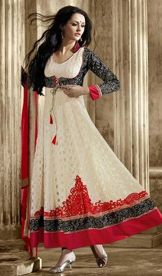 Cream/Black Embroidered Jacquard and Net Anarkali Suit Look prettiest of the lot wearing this cream, black embroidered jacquard and net Anarkali suit. The desirable lace and resham work a significant attribute of this attire.  #AnarkaliSalwarKameez #BuyAnarkaliSuitsOnline