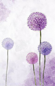 Oil Painting Flowers, Watercolor Flowers, Watercolor Paintings, Dandelion Painting, Purple Painting, Watercolor Background, Watercolour, 3 Piece Wall Art, Large Wall Art