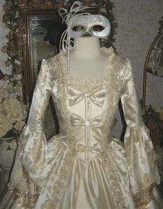 Brocade and Silk Marie Antoinette Gown with Bows- Custom