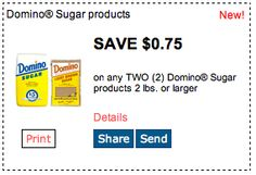 Domino Sugar Products. Save $.75 on any two sugar products 2lbs or larger. Click for more great deals! #Coupons #Deals #Baking #Cooking #Kitchen #Recipes #Sugar