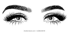 Abstract fashion illustration of the eye with creative makeup. Hand drawn vector idea for business visit cards, templates, web, salon banners,brochures. Natural eyebrows and glam eyelashes - Buy this stock vector and explore similar vectors at Adobe Stock Eyebrows Sketch, Eyelashes Drawing, Eyelashes Makeup, Perfect Eyebrow Shape, Eyes Artwork, Eye Logo, Eye Sketch, Lashes Logo, Natural Eyebrows