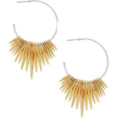 Steve Madden Two-Tone Open Hoop Dangling Pointed End Fringed Earrings (1.295 RUB) ❤ liked on Polyvore featuring jewelry, earrings, two tone, earring jewelry, fringe earrings, gold colored earrings, two tone hoop earrings and gold tone hoop earrings