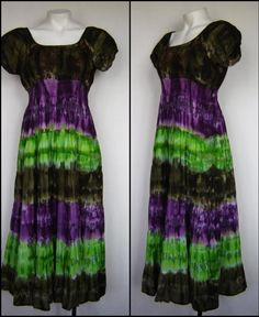 Peasant Style Maxi Tie Dye Cotton/voile Layered FESTIVAL Dress