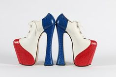A fine and rare pair of Vivienne Westwood red, white and blue super-elevated mock croc and leather Gillie shoes, 1993.