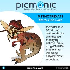 Learn the antimetabolite and disease modifying antirheumatic drug, Methotrexate, with Picmonic! 🦖