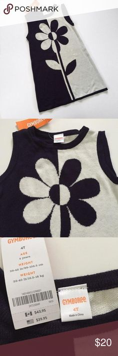 NWT! Gymboree navy blue and white color block sleeveless sweater dress with flower Brand new Gymboree Dresses