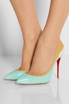 CHRISTIAN LOUBOUTIN Tucsick 100 glitter-trimmed patent-leather pumps $845
