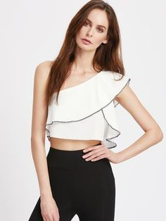 SheIn offers Oblique Shoulder Contrast Binding Ruffle Top & more to fit your fashionable needs. Crop Top Styles, Cute Fashion, Girl Fashion, Fashion Looks, Fashion Outfits, Best Casual Outfits, Couture Mode, Asymmetrical Tops, Ruffle Top
